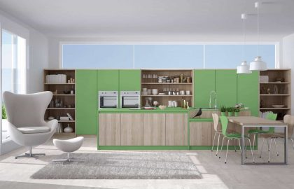 מטבחים מעוצבים בצבע ירוק במבצע
